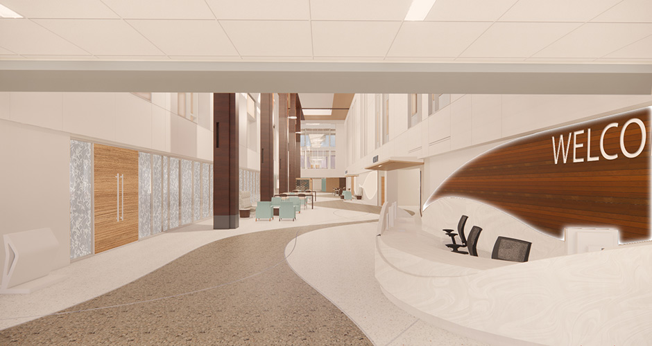 Interior rendering of GBMC's Patient Center lobby and welcome area with tall ceilings, greeters' desk and open floor plan.