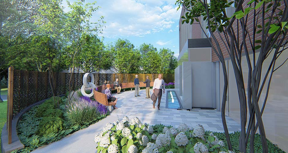 Exterior rendering of a healing garden with white flowers, seating, people relaxing and passing through.