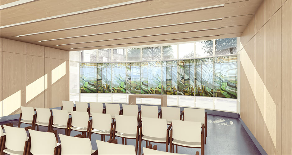 Interior rendering of a new chapel for GBMC's patients, families, and staff to visit and reflect.