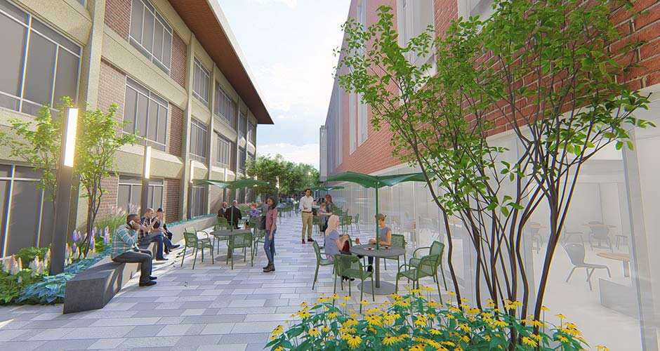 Exterior rendering of the healing garden between two building and with people sitting at tables, walking by, surrounded by trees and flowers.