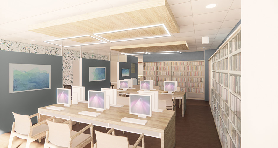 Interior rendering of a medical library with several desks, computer stations, seating and an area surrounding by medical literature in book cases.