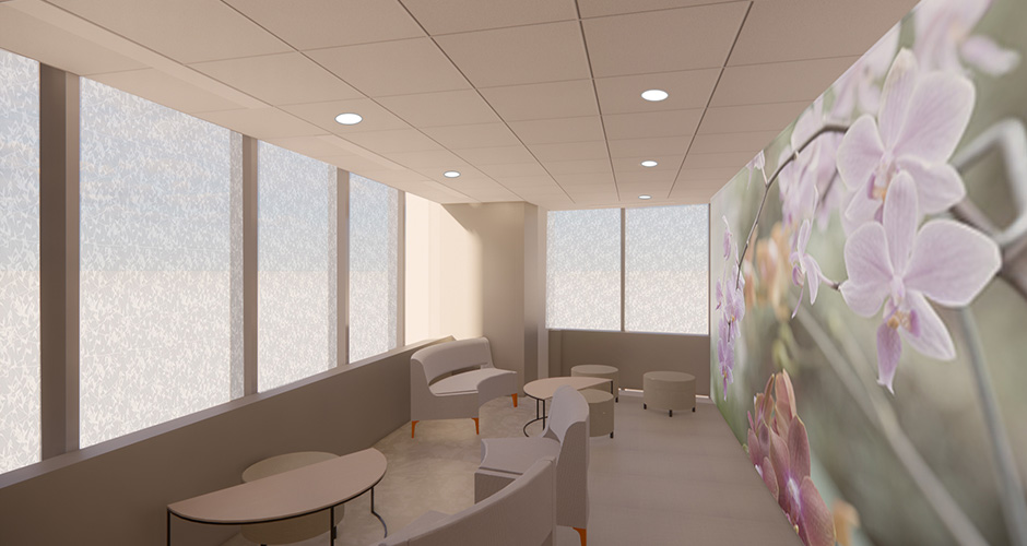 Interior rendering of an open yet semi-private space with seating and tables, and a purple orchid papered wall.